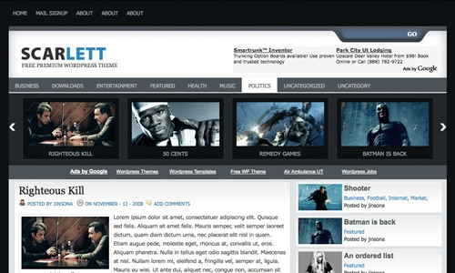 wordpress scarlet theme 20 thèmes Wordpress gratuits