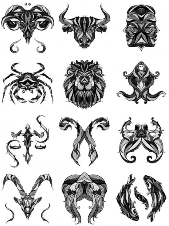 12 illustrations originales des signes du zodiac for Tattoo horoscope signs
