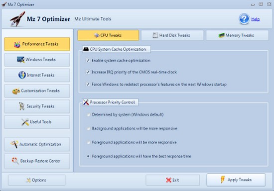 Mz 7 Optimizer performance windows seven Windows 7 : Logiciels gratuits pour optimiser les performances