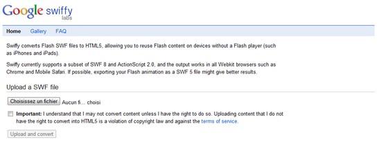 Convertir les fichiers SWF en HTML5 avec Swiffy de Google