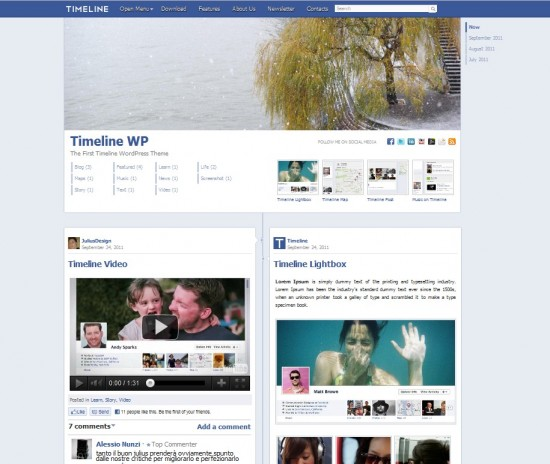 theme wordpress facebook timeline 550x464 Thème Wordpress Facebook : la Timeline !