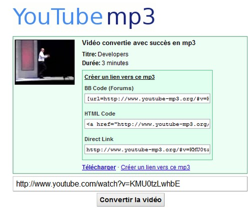 youtube to mp3 Convertir une vidéo Youtube en MP3 (musique, clips, ...)
